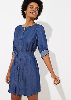 LOFT Petite Chambray Shirtdress