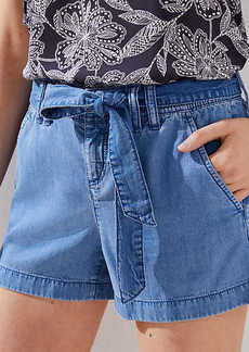 LOFT Petite Chambray Tie Waist Shorts
