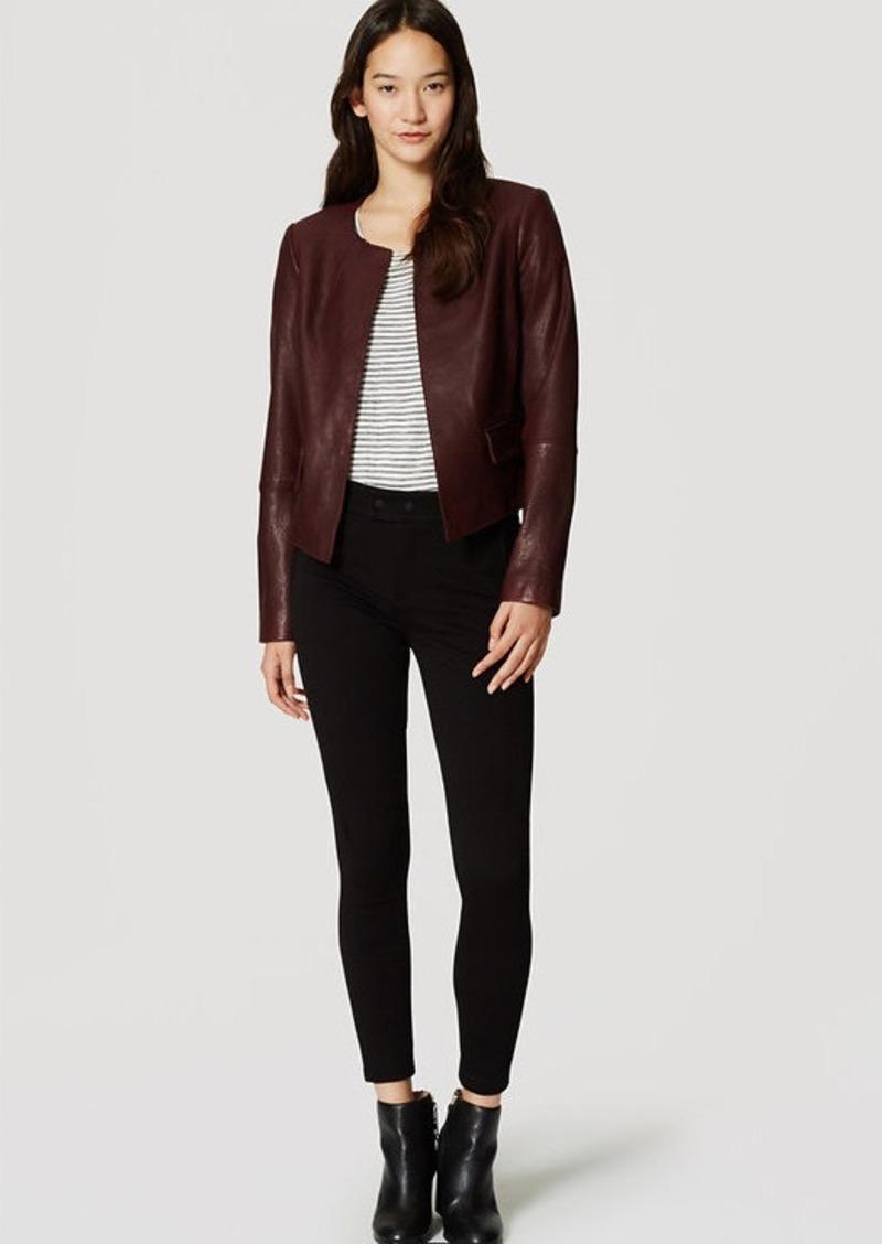 LOFT Petite Collarless Leather Jacket