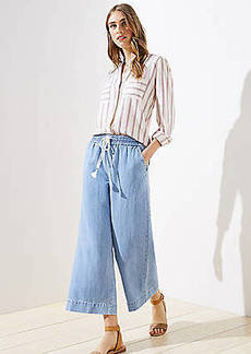 LOFT Petite Cotton Linen Drawstring Wide Leg Crop Pants