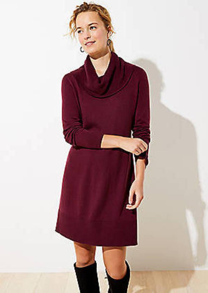 LOFT Petite Cowl Neck Sweater Dress