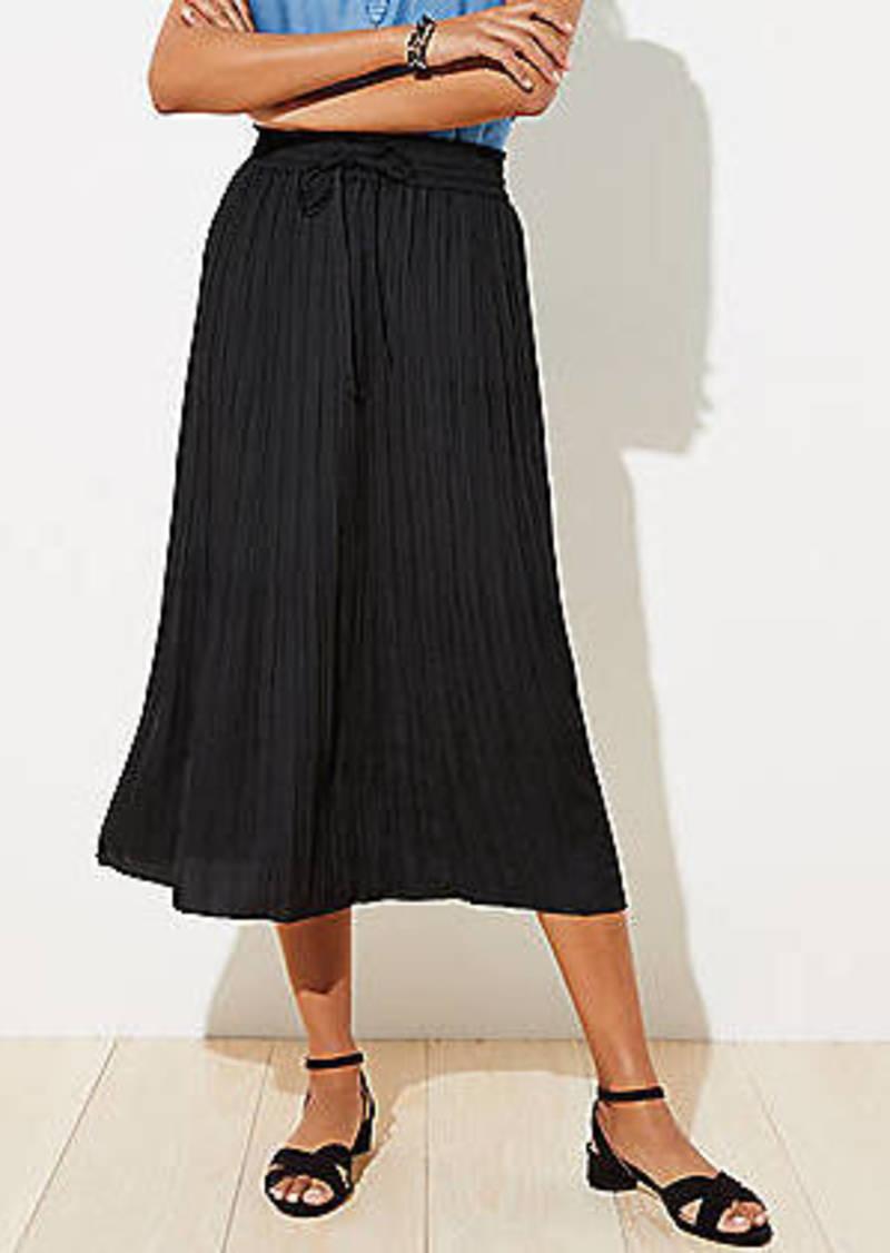 LOFT Petite Crinkle Drawstring Midi Skirt