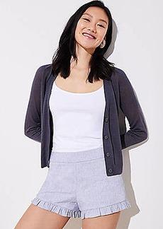 LOFT Petite Crosshatch Ruffle Shorts