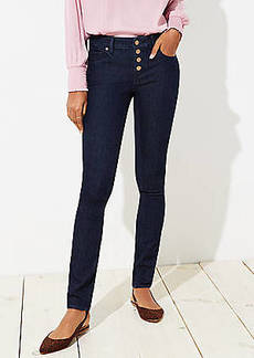 LOFT Petite Curvy Button Fly Skinny Jeans in Dark Rinse Wash