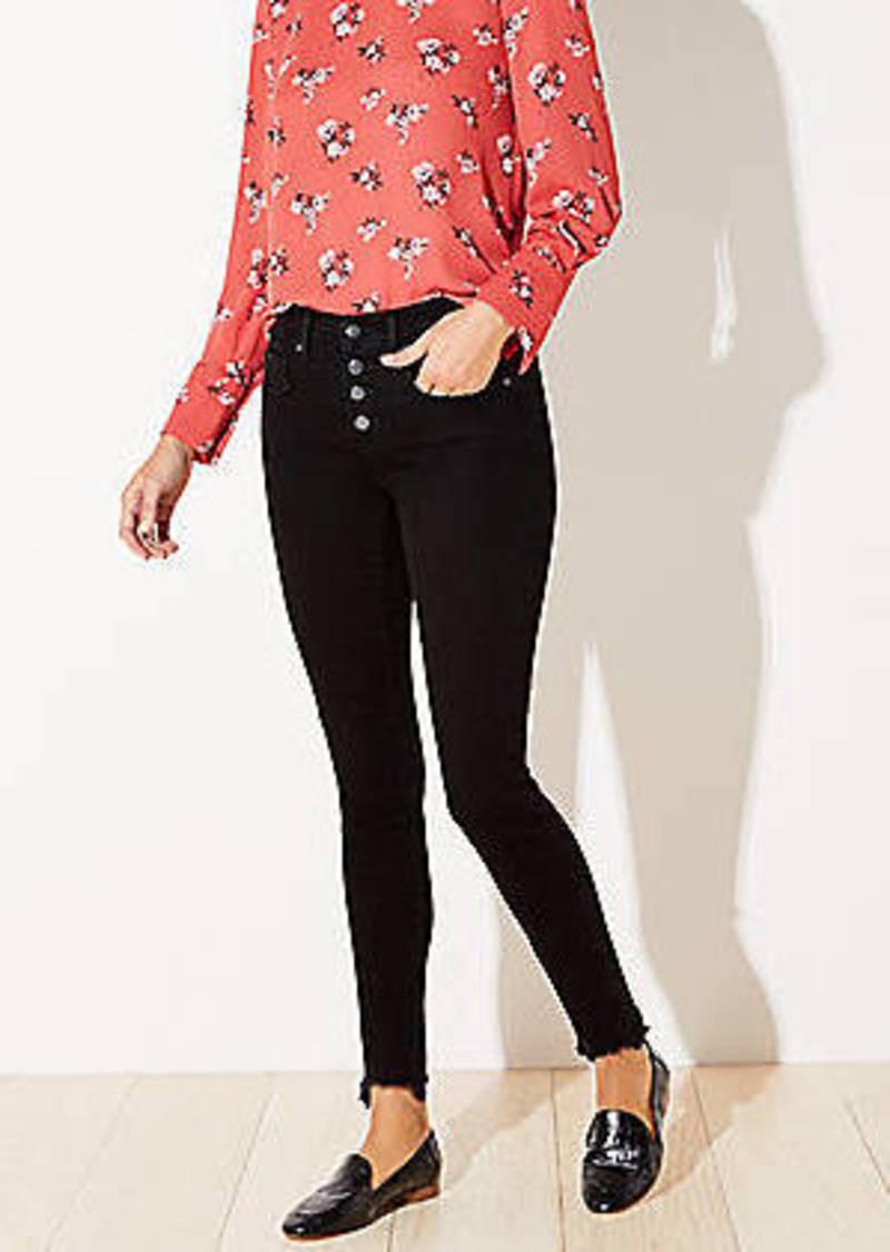 LOFT Petite Chewed Hem Skinny Jeans in Black