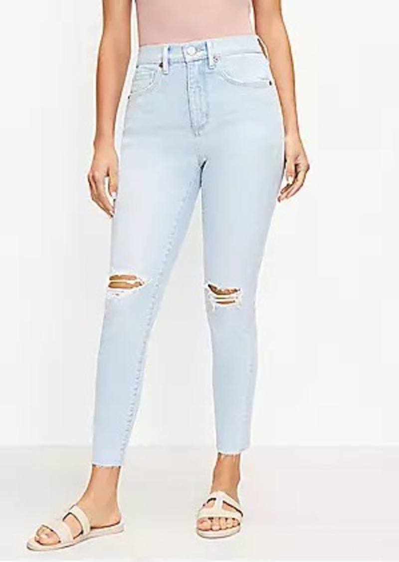 LOFT Petite Curvy Destructed High Rise Skinny Ankle Jeans in Bleach Out Wash