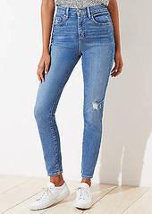 LOFT Petite Curvy Destructed High Rise Skinny Jeans in Indigo Wash