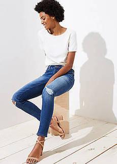 LOFT Petite Curvy Destructed Slim Pocket Skinny Jeans in Mid Indigo Wash