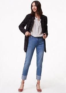 Petite Curvy Frayed Cuff Straight Leg Jeans in Light Vintage Wash