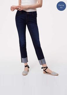 LOFT Petite Curvy Frayed Cuff Straight Leg Jeans in Super Dark Indigo Wash