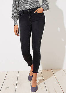 LOFT Petite Curvy Front Seam Unpicked Skinny Jeans in Washed Black