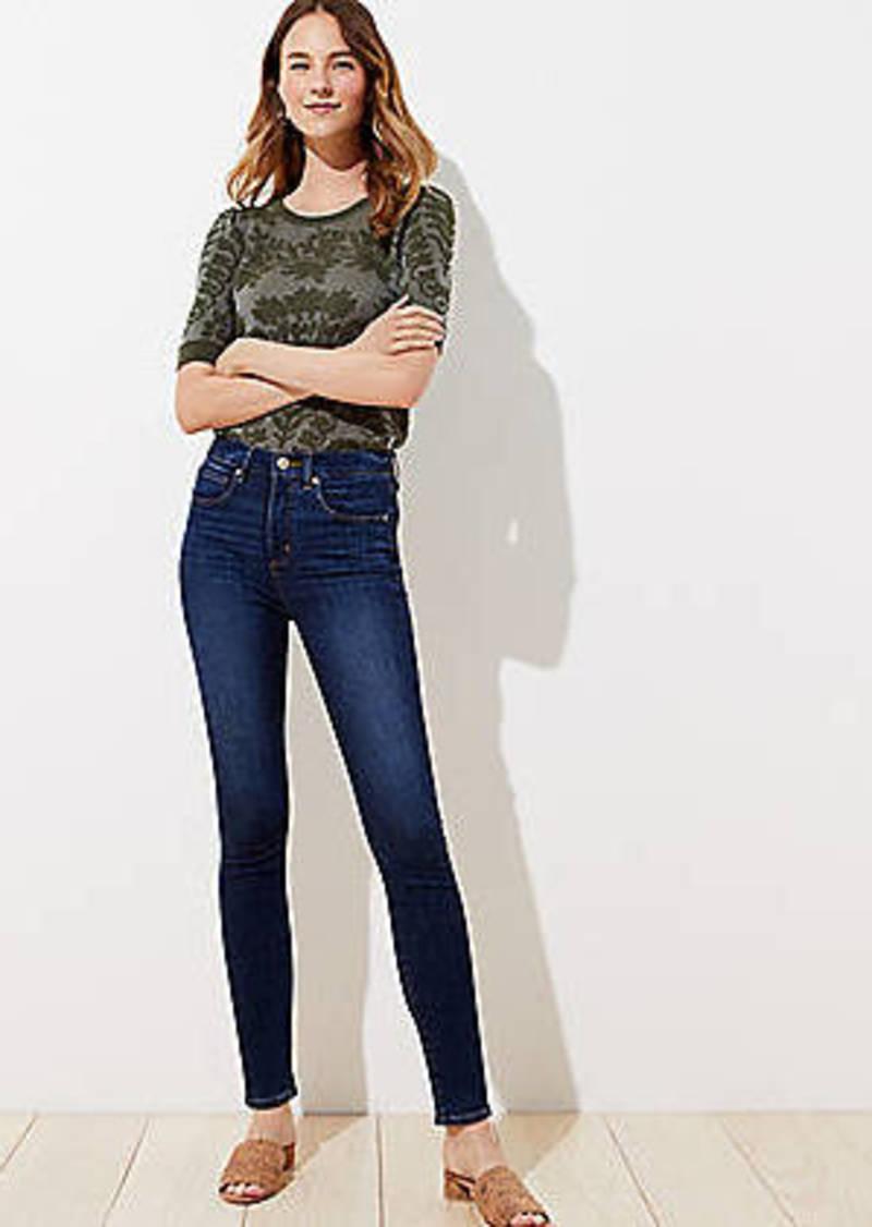 LOFT Petite Curvy High Rise Slim Pocket Skinny Jeans in Vintage Dark Indigo Wash