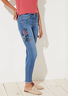 LOFT Petite Curvy Painted Floral Frayed Skinny Jeans in Indigo Wash