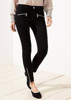 LOFT Petite Curvy Zip Skinny Jeans in Black