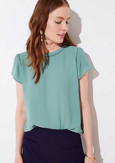 LOFT Petite Cutout Button Back Top