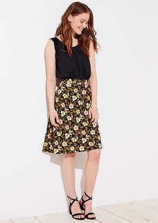 LOFT Petite Daisy Fluid A-Line Skirt