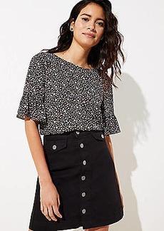 LOFT Petite Denim Button Front Pocket Skirt