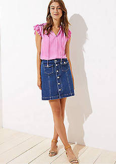 LOFT Petite Denim Button Front Shift Skirt