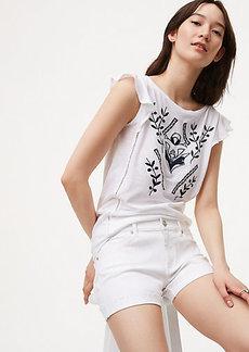 Petite Denim Flip Cuff Shorts in White