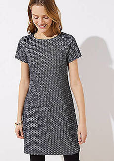 LOFT Petite Diamond Jacquard Shoulder Button Dress