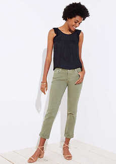 LOFT Petite Distressed Boyfriend Jeans in Olive