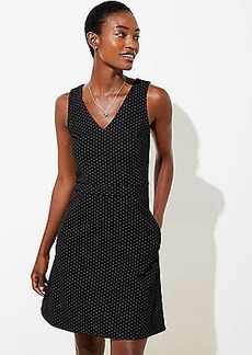 LOFT Petite Dot Jacquard Pocket Flare Dress