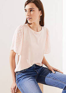 LOFT Petite Dot Sleeve Mixed Media Tee