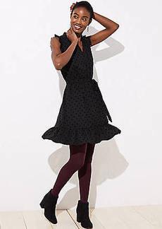 LOFT Petite Dotted Ruffle Sleeve Dress