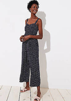 LOFT Petite Dotted Strappy Crop Jumpsuit