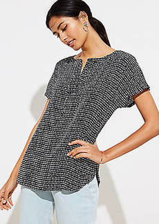 LOFT Petite Dotted Tie Neck Mixed Media Tee