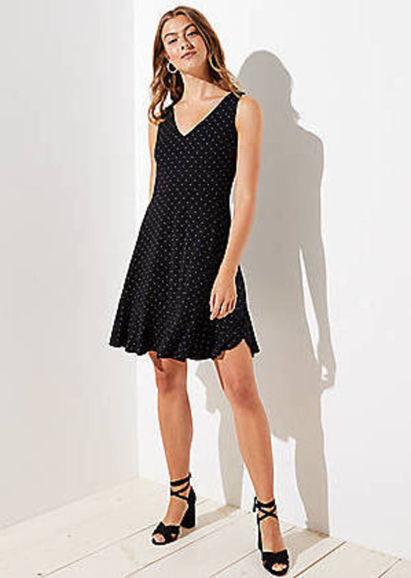 LOFT Petite Dotted V-Neck Flare Dress