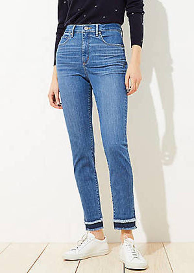 LOFT Petite Double Frayed Skinny Jeans