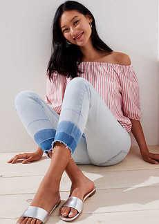 LOFT Petite Double Unpicked Skinny Crop Jeans in Super Light Indigo Wash