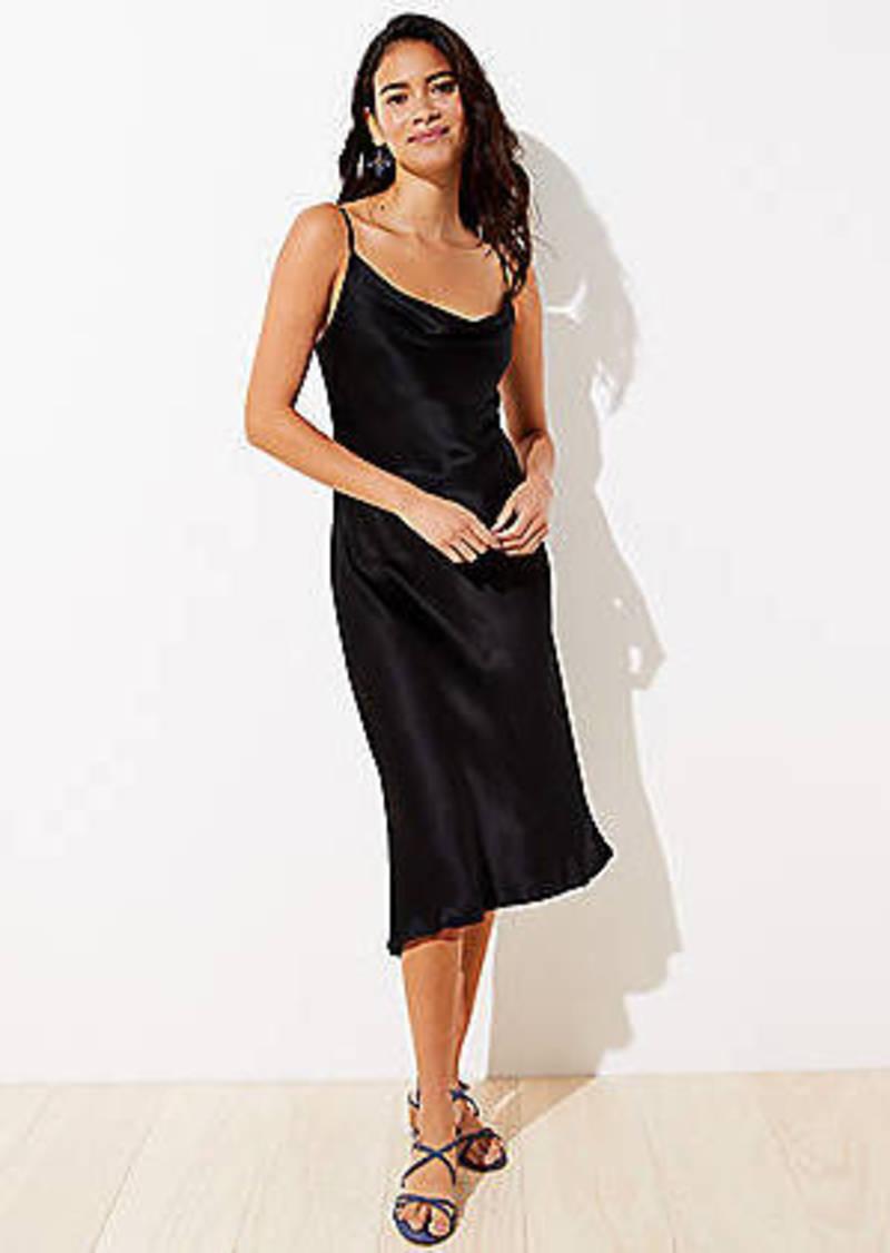 LOFT Petite Draped Midi Slip Dress