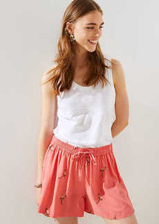 LOFT Petite Embroidered Flamingo Fluid Drawstring Shorts