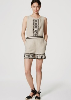 LOFT Petite Embroidered Linen Romper