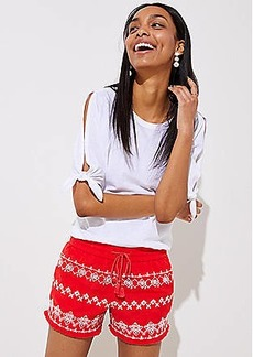 LOFT Petite Embroidered Tassel Drawstring Shorts