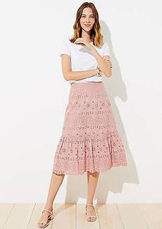 LOFT Petite Eyelet Flounce Midi Skirt