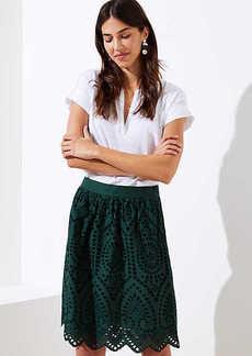 LOFT Petite Eyelet A-Line Skirt