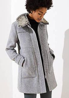 LOFT Petite Faux Fur Collar Coat