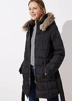 LOFT Petite Faux Fur Trim Belted Puffer Coat