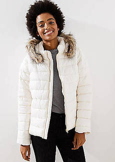 LOFT Petite Faux Fur Trim Hooded Puffer Coat