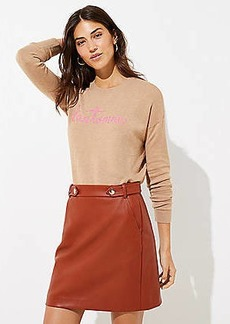 LOFT Petite Faux Leather Button Tab Skirt