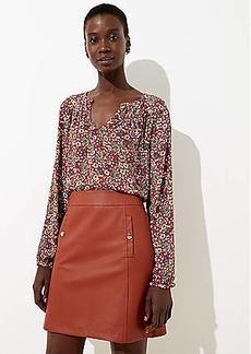 LOFT Petite Faux Leather Pocket Skirt
