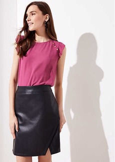 LOFT Petite Faux Leather Wrap Skirt
