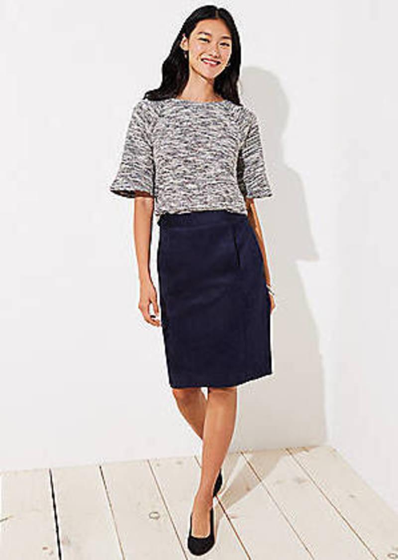 LOFT Petite Faux Suede Pencil Skirt