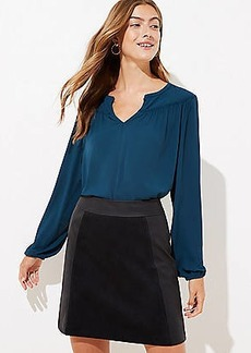 LOFT Petite Mixed Faux Leather Skirt