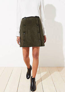 LOFT Petite Faux Suede Sailor Shift Skirt