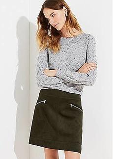 LOFT Petite Faux Suede Zip Skirt