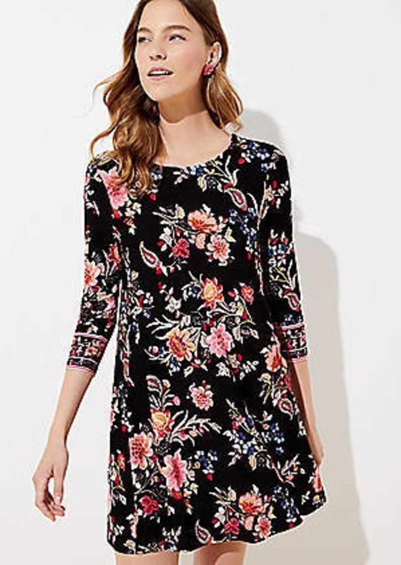 LOFT Petite Floral 3/4 Sleeve Swing Dress